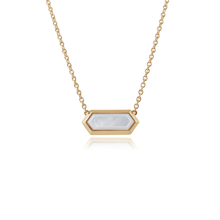 Gemondo Gold Plated Silver 2.20ct Mother of Pearl Hexagonal Prism Necklace 45cm