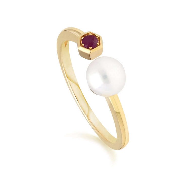 Modern Pearl & Ruby Open Ring in 9ct Yellow Gold