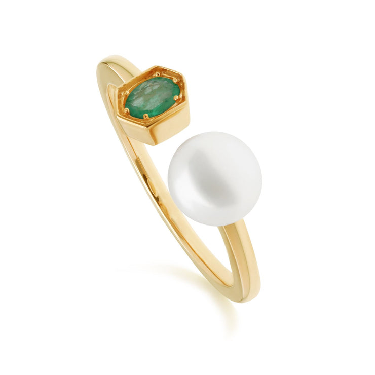Modern Pearl & Emerald Open Ring in Gold Plated Sterling Silver