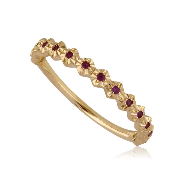 18ct Yellow Gold 0.09ct Ruby Band Ring