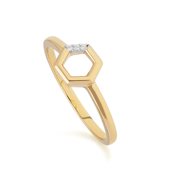 Diamond Hexagon Open Ring in 9ct Yellow Gold