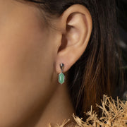 Micro Statement Chrysoprase Cabochon Drop Earrings in Sterling Silver