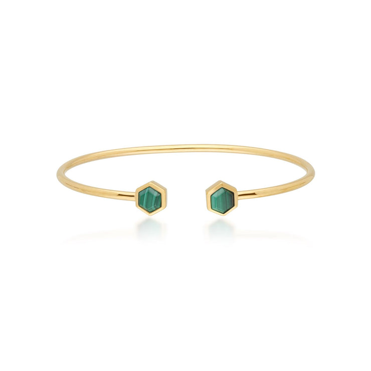 Geometric Hexagon Malachite Open Bangle in Gold Plated Sterling Silver