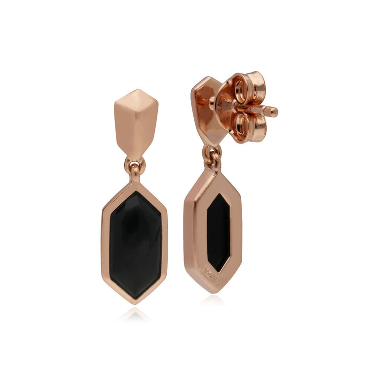 Micro Statement Black Onyx Drop Earrings in Rose Gold Plated 925 Sterling Silver