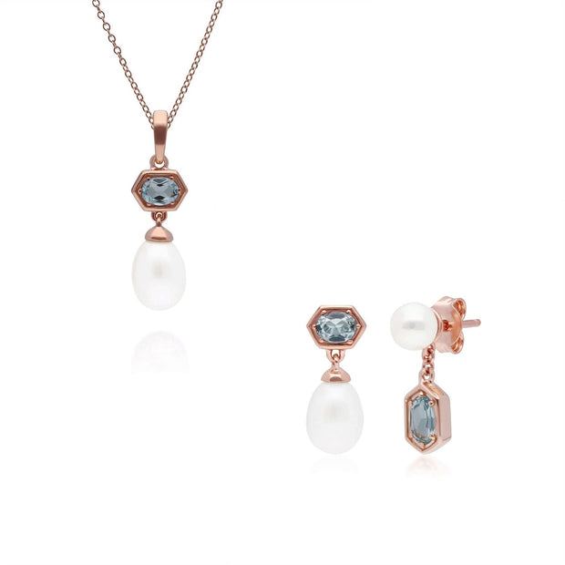 Modern Pearl & Blue Topaz Pendant & Earring Set in Rose Gold Plated Sterling Silver