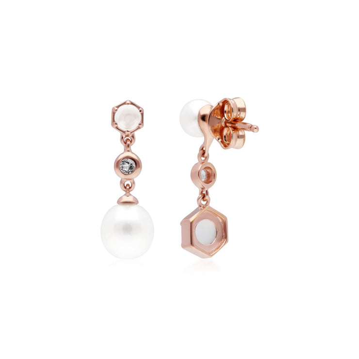 Modern Pearl, Moonstone & Topaz Mismatched Drop Earrings in Rose Gold Plated Sterling Silver