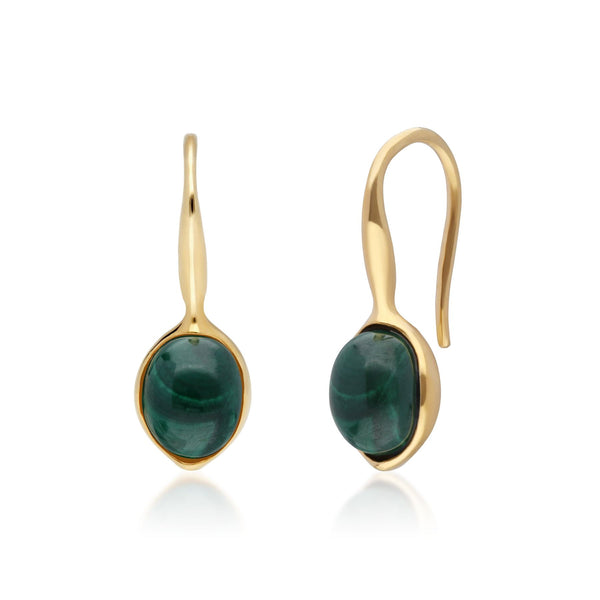Irregular B Gem Malachite Drop Earrings in Yellow Gold Plated Sterling Silver