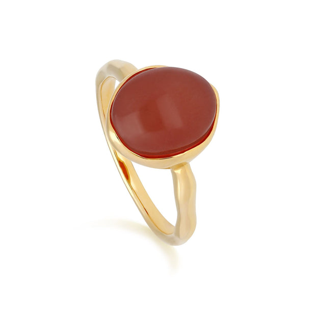 Irregular B Gem Dyed Red Jade & Diamond Ring in Gold Plated Sterling Silver