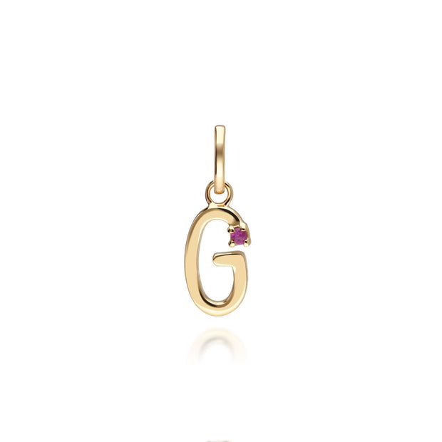Initial G Ruby Letter Charm in 9ct Yellow Gold