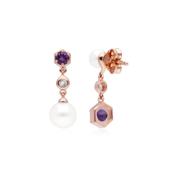Modern Pearl, Amethyst & Topaz Mismatched Drop Earrings in Rose Gold Plated Sterling Silver