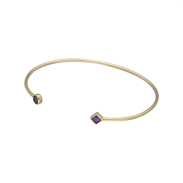 Geometric Open Amethyst Bangle in 9ct Yellow Gold