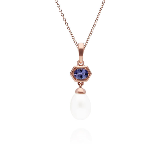 Modern Pearl & Tanzanite Hexagon Drop Pendant in Rose Gold Plated Sterling Silver