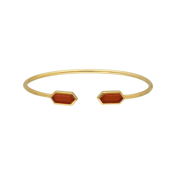 Geometric Dyed Red Carnelian Open Bangle in Gold Plated Sterling Silver