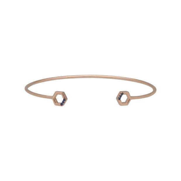 Sapphire Pavé Hexagon Open Bangle in 9ct Rose Gold