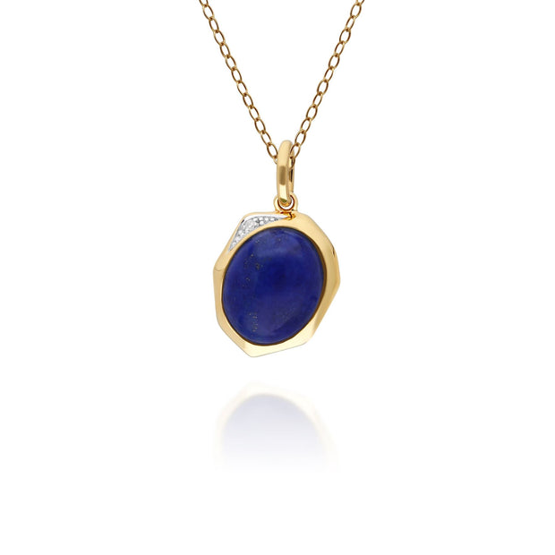 Irregular B Gem Lapis Lazuli & Diamond Pendant in Gold Plated Sterling Silver