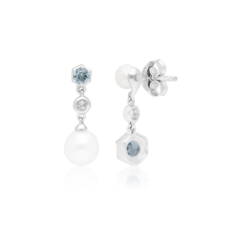 Modern Pearl & Topaz Drop Earrings in 925 Sterling Silver