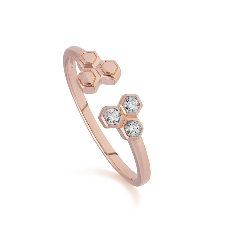 Diamond Open Hexagon Trilogy Ring in 9ct Rose Gold