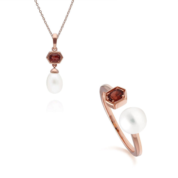 Modern Pearl & Garnet Pendant & Ring Set in Rose Gold Plated Sterling Silver