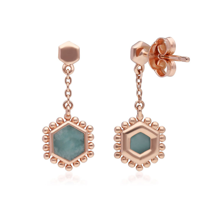 Amazonite Flat Slice Hex Drop Earrings in Rose Gold Plated Sterling Silver
