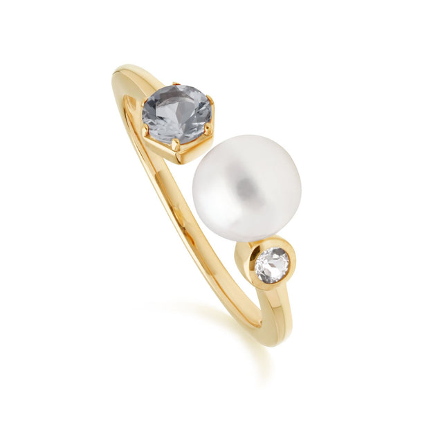 Modern Pearl, Aquamarine & Topaz Open Ring in Gold Plated Sterling Silver
