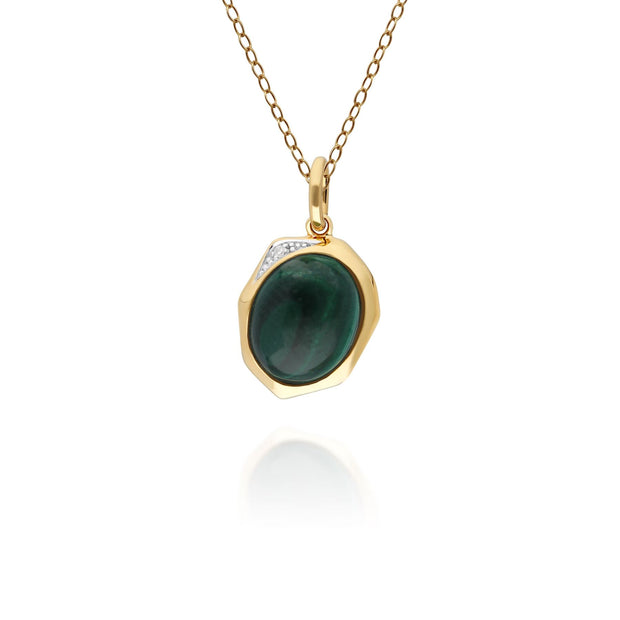 Irregular B Gem Malachite & Diamond Pendant in Gold Plated Sterling Silver