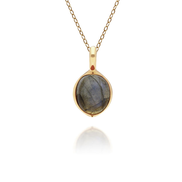 Irregular B Gem Labradorite Pendant in Gold Plated Sterling Silver