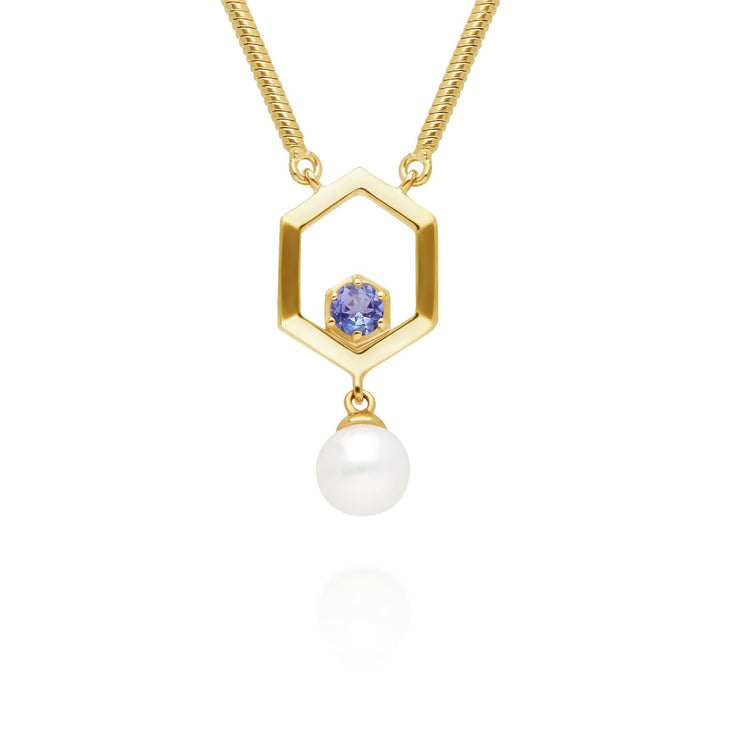 Modern Pearl & Tanzanite Hexagon Drop Necklace in Gold Plated Sterling Silver