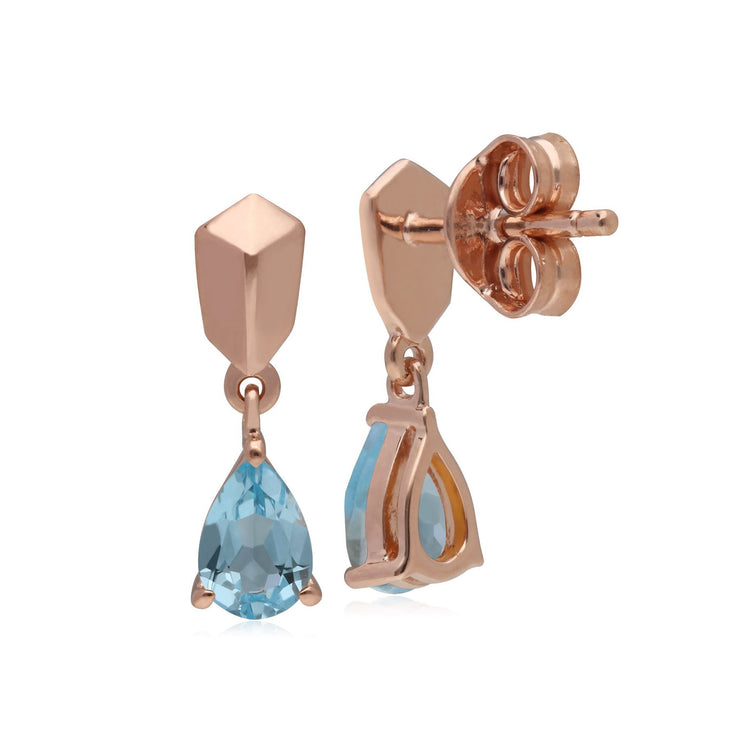 Micro Statement Topaz Earrings in Rose Gold Plated 925 Sterling Silver