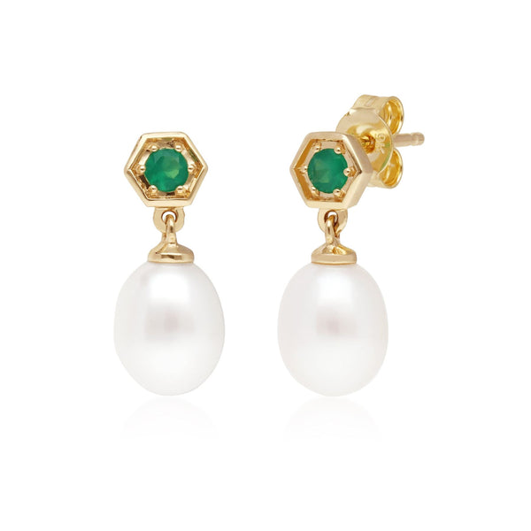 Modern Pearl & Dyed Green Chalcedony Drop Earrings in 9ct Yellow Gold