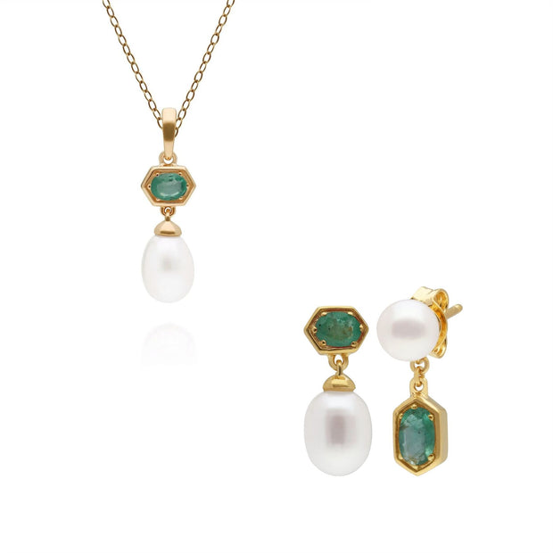 Modern Pearl & Emerald Pendant & Earring Set in Gold Plated Sterling Silver