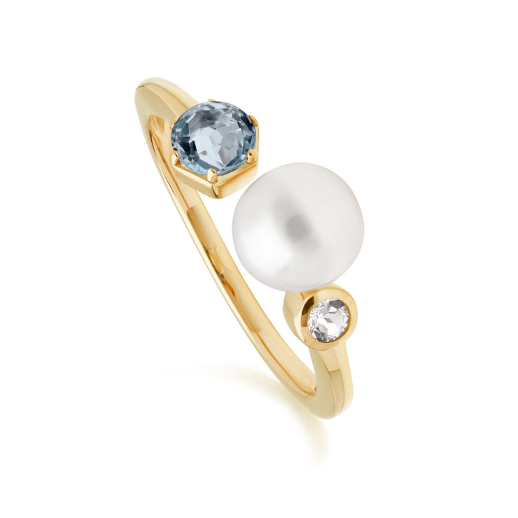 Modern Pearl & Topaz Open Ring in Gold Plated Sterling Silver