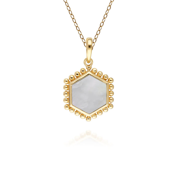 Mother of Pearl Flat Slice Hex Pendant in Gold Plated Sterling Silver