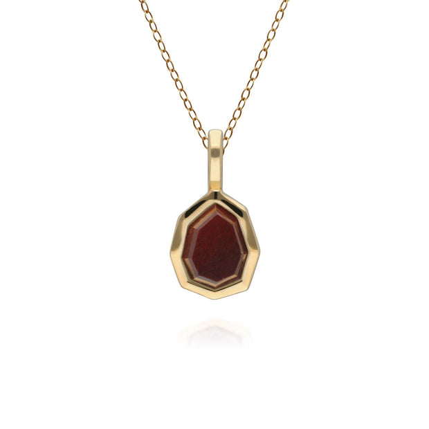 Irregular B Gem Red Jasper Pendant in Gold Plated Sterling Silver