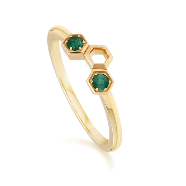 Honeycomb Inspired Emerald Stack Ring in 9ct Yellow Gold