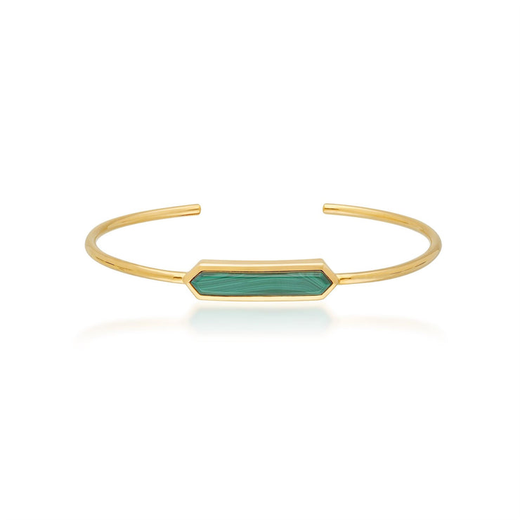 Geometric Prism Malachite Bangle in Gold Plated Sterling Silver