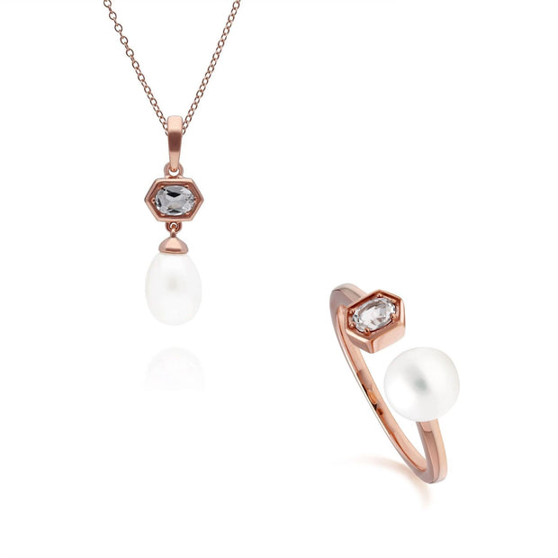 Modern Pearl & Tanzanite Pendant & Ring Set in Rose Gold Plated Sterling Silver