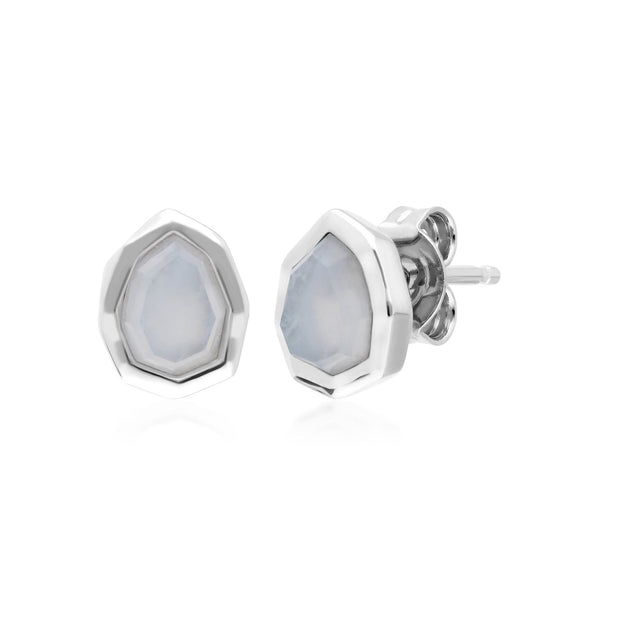 Irregular B Gem Blue Lace Agate Stud Earrings in 925 Sterling Silver