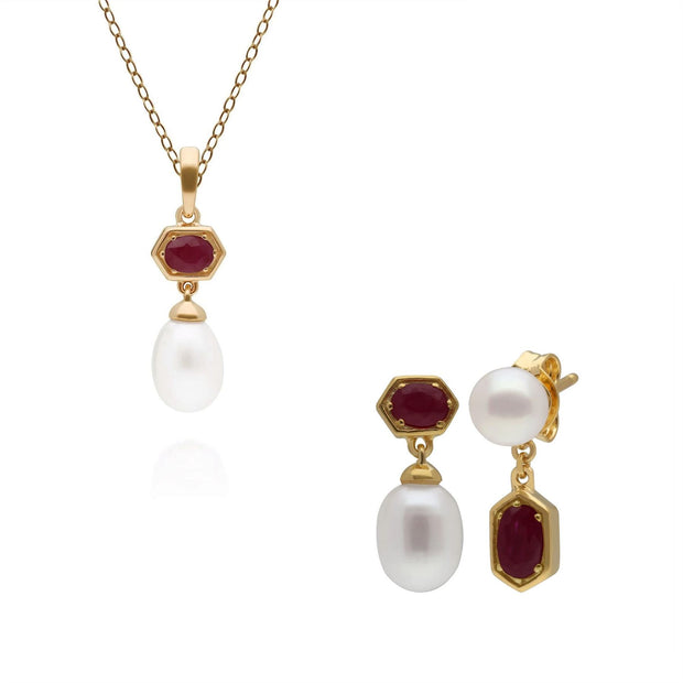 Modern Pearl & Ruby Earring & Pendant Set in Gold Plated Sterling Silver