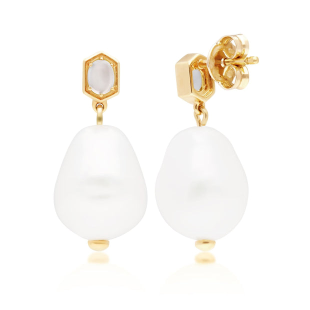 Modern Baroque Pearl & Moonstone Drop Earrings in Gold Plated 925 Sterling Silver