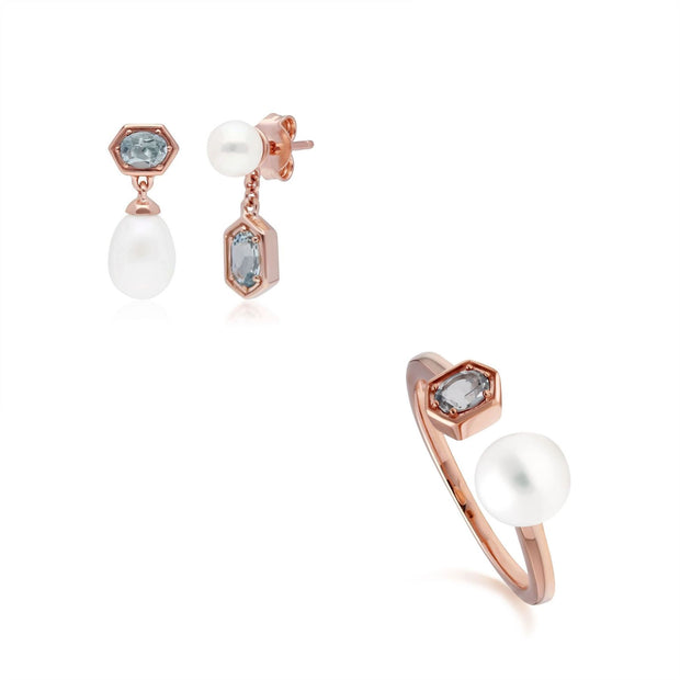 Modern Pearl & Aquamarine Earring & Ring Set in Rose Gold Plated Sterling Silver