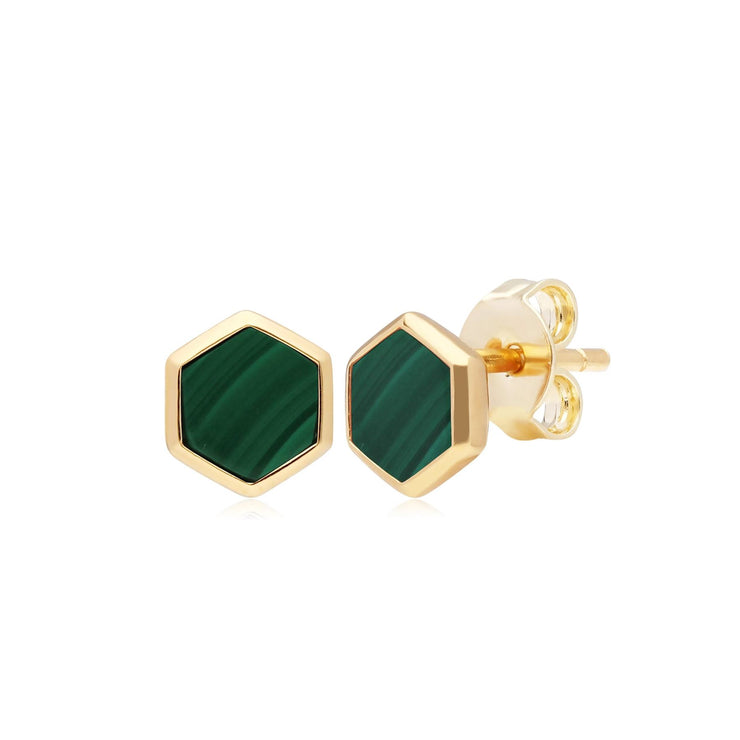 Micro Statement Malachite Stud Earrings in Gold Plated 925 Sterling Silver