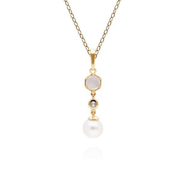 Modern Pearl, Moonstone & Topaz Drop Pendant in Gold Plated Sterling Silver