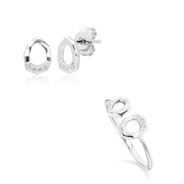 Diamond Pave Asymmetrical Stud Earring & Ring Set in 9ct White Gold