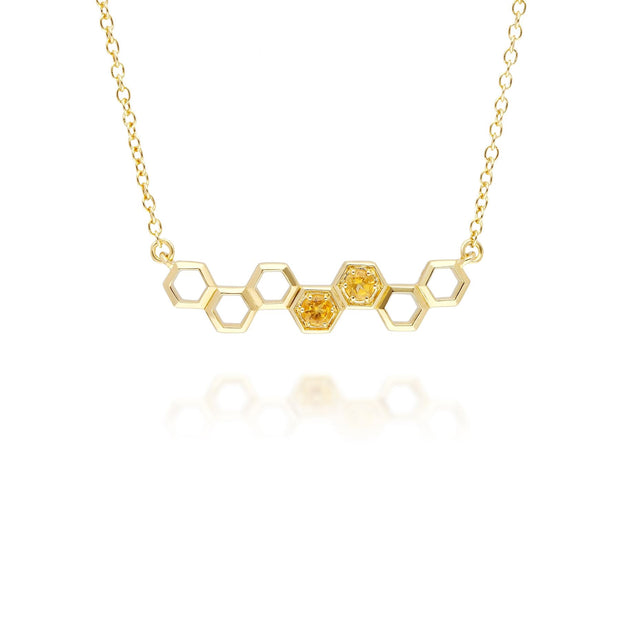 Honeycomb Inspired Citrine Link Necklace in 9ct Yellow Gold