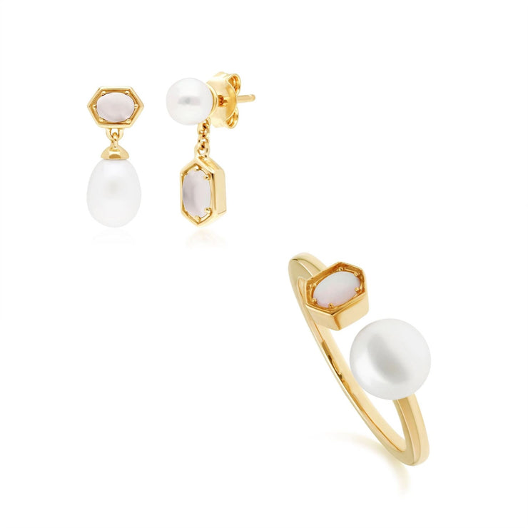 Modern Pearl & Moonstone Earring & Ring Set in Gold Plated Sterling Silver