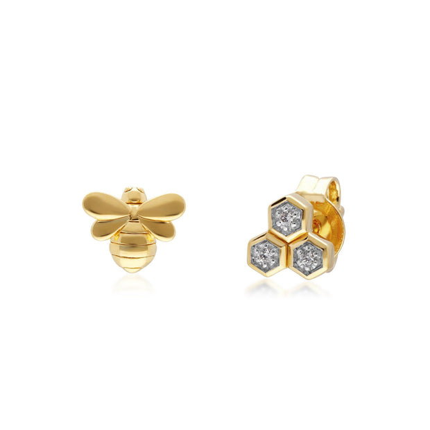 Honeycomb Inspired Mismatched Diamond Bee Earrings in 9ct Yellow Gold
