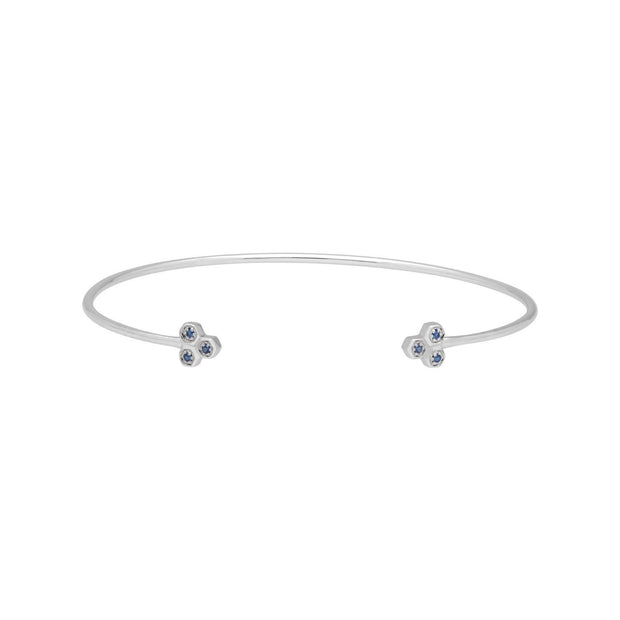 Sapphire Trilogy Geometric Bangle in 9ct White Gold