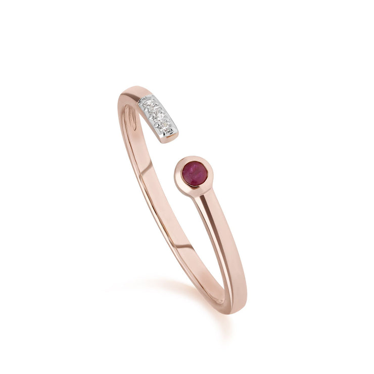 Contemporary Ruby & Diamond Open Ring in 9ct Rose Gold