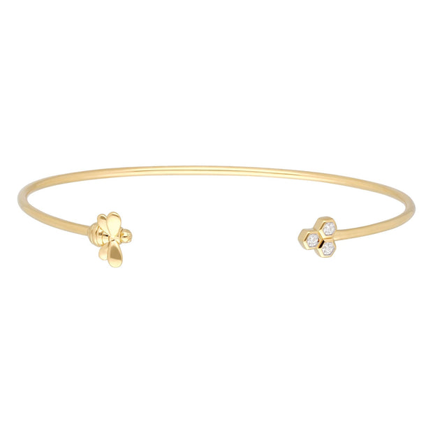 Honeycomb Inspired Diamond Trilogy Bee Bangle in 9ct Yellow Gold