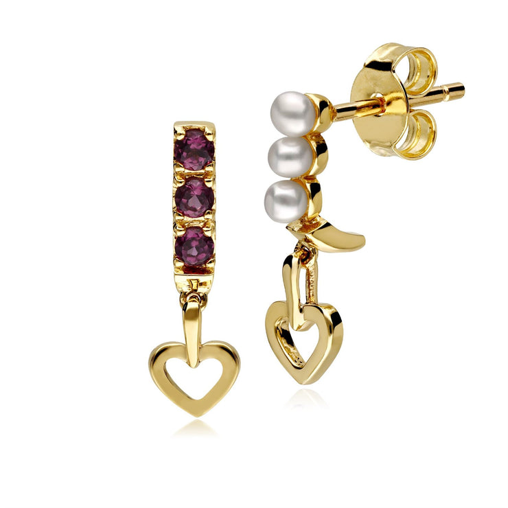 Cultured Freshwater Pearl & Rhodolite Mismatched Heart Drop Earrings